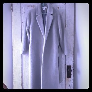 Gray Belted Wool Coat L